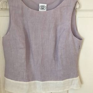 Laura Ashley Violet/White Linen Sleeveless Top S10